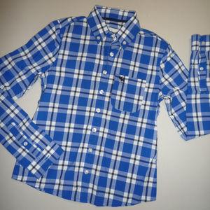 Abercrombie Kids Blue & White Plaid LS Shirt, sz S